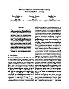 Efficient Inference and Structured Learning for ... - Semantic Scholar