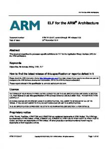 ELF for the ARM Architecture