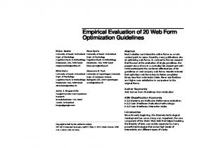 Empirical Evaluation of 20 Web Form Optimization Guidelines