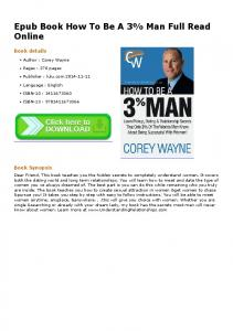 Epub Book How To Be A 3% Man Full Read Online