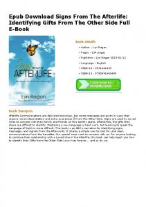 Epub Download Signs From The Afterlife: Identifying Gifts From The ...