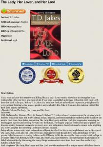 EPUB The Lady, Her Lover, and Her Lord - TD Jakes ...