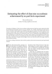 Estimating the effect of class size on academic ...