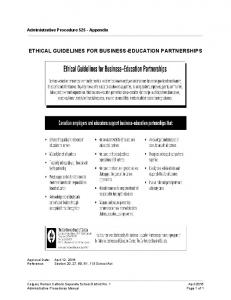 ETHICAL GUIDELINES FOR BUSINESS-EDUCATION PARTNERSHIPS