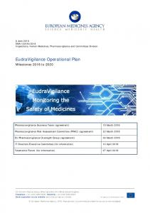 EudraVigilance Operational Plan - European Medicines Agency