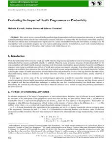 Evaluating the Impact of Health Programmes on ... - Wiley Online Library