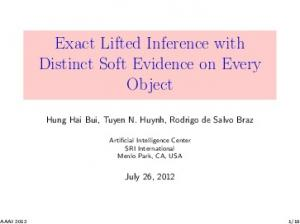Exact Lifted Inference with Distinct Soft Evidence ... - Semantic Scholar