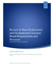 Executive Report on Occupational Licensing - dos.pa.gov