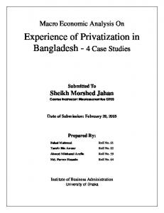 Experience of Privatization in