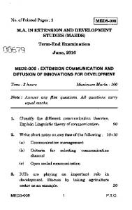 Extension Communication And Diffusion Of Innovations For ...
