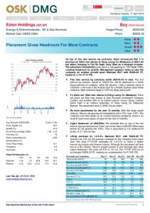 Ezion Holdings (EZI SP) Placement Gives ... - RHB Research Institute