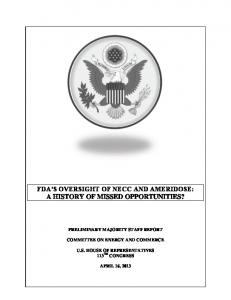 fda's oversight of necc and ameridose: a history of ... - gov.house.docs