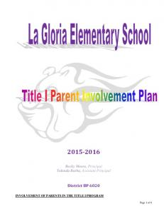 Final 2015-16 La Gloria Parent Involvement Plan - Approved 11-10-15 ...