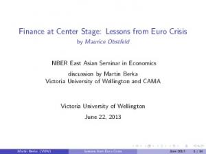 Finance at Center Stage: Lessons from Euro Crisis