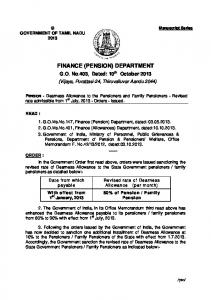 finance (pension) department - Tamil Nadu Government