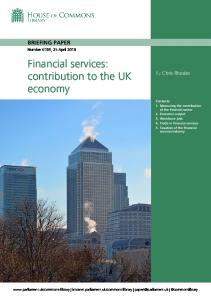 Financial services: contribution to the UK economy - Parliament UK