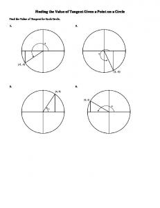Finding the Value of Tangent Given a Point on a Circle