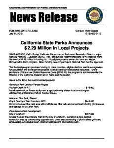for immediate release - California State Parks