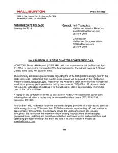 FOR IMMEDIATE RELEASE Contact: Kelly Youngblood ... - Halliburton