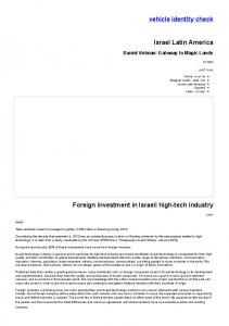 Foreign investment in Israeli high-tech industry | Israel Latin America ...