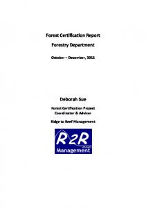 Forest Certification Report Forestry Department ...