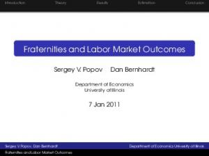 Fraternities and Labor Market Outcomes