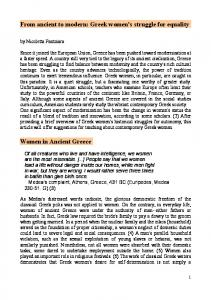 From ancient to modern: Greek women's struggle for ...