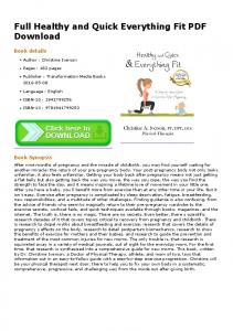 Full Healthy and Quick Everything Fit PDF Download