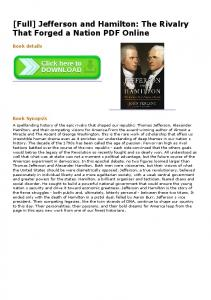 [Full] Jefferson and Hamilton: The Rivalry That Forged a ...