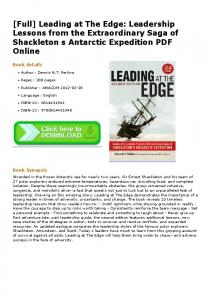 [Full] Leading at The Edge: Leadership Lessons from ...