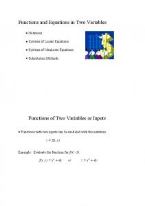 Functions and Equations in Two Variables Functions ...