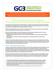 GC3 Policy Statement on Green Chemistry in Higher Education
