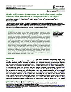 Gender and inorganic nitrogen - cimmyt