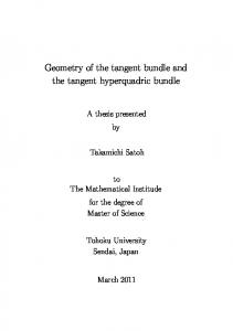 Geometry of the tangent bundle and the tangent ...