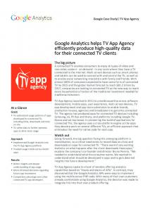 Google Analytics helps TV App Agency efficiently ...  Services