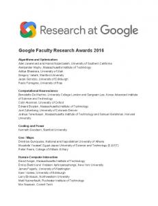 Google Faculty Research Awards 2016  Services