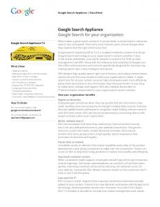Google Search Appliance Google Search for your organization