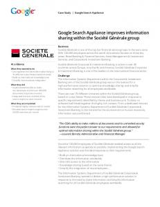Google Search Appliance improves information sharing within the ...