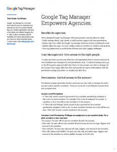 Google Tag Manager Empowers Agencies.  Services