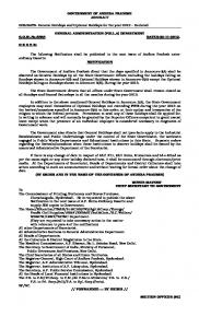 GOVERNMENT OF ANDHRA PRADESH ABSTRACT HOLIDAYS ...