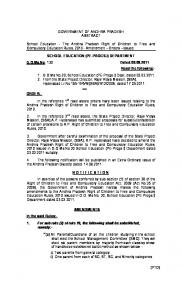 GOVERNMENT OF ANDHRA PRADESH ABSTRACT School Education