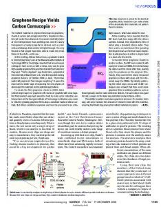 Graphene Recipe Yields Carbon Cornucopia