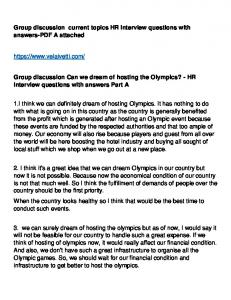 Group discussion Can we dream of hosting the Olympics ... - Velaivetti