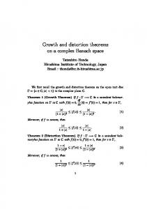 Growth and distortion theorems on a complex Banach ...