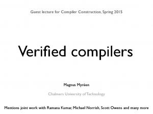 Guest lecture for Compiler Construction, Spring 2015