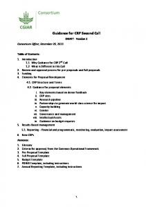 Guidance for CRP Second Call - DRAFT - Version 2 - CGSpace - CGIAR