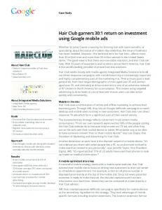Hair Club garners 30:1 return on investment using Google ... .es