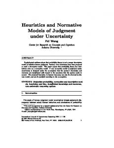 Heuristics and Normative Models of Judgment under ... - Temple CIS