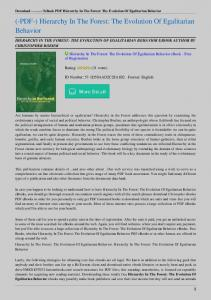 Hierarchy-In-The-Forest-The-Evolution-Of-Egalitarian-Behavior.pdf ...