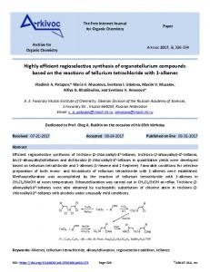 Highly efficient regioselective synthesis of organotellurium ... - Arkivoc